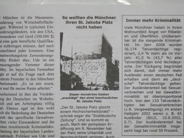 Hetze gegen Synagoge und jüdisches Gemeindezentrum bei Pro München