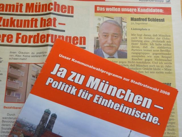 BIA-Propaganda zur Kommunalwahl 2008.  Material und Bild: a.i.d.a.