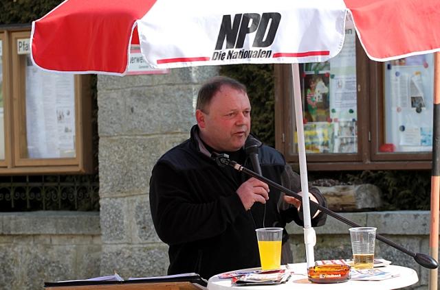 Der NPD-Kreisvorsitzende Alfred Steinleitner.  Bild: Jan Nowak