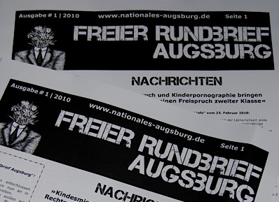 Publikation Augsburger Neonazis des FNS mit Gewaltaufrufen  Foto: a.i.d.a.