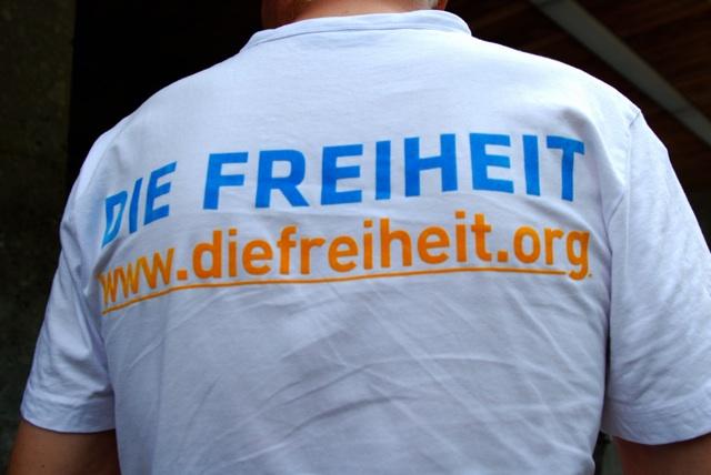 Logo und URL der rechtspopulistischen Partei 'Die Freiheit'. Foto: Robert Andreasch