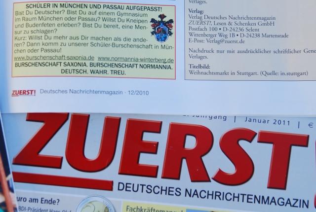 Anzeige der Münchner Schülerburschenschaft Saxonia in der extrem rechten Zeitschrift 'Zuerst'. Foto: a.i.d.a.