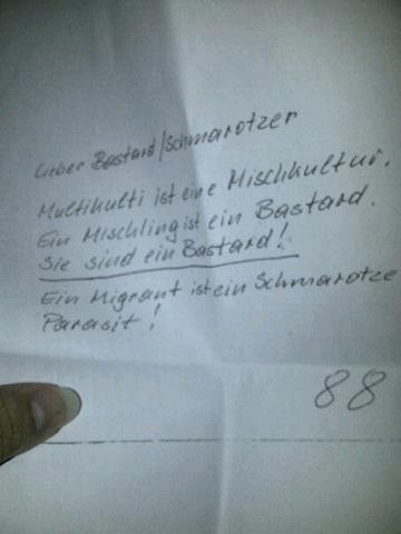 Neonazistischer Drohbrief an den Vorsitzenden des Straubinger Migrations- und Ausländerbeirats.