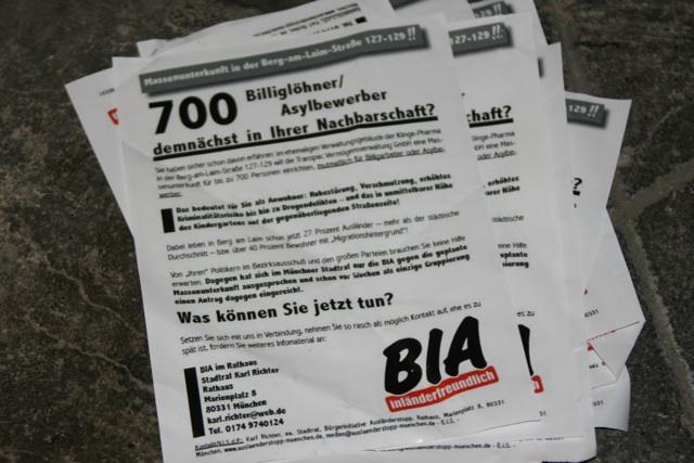Die rassistischen Flugblätter der 'Bürgerinitiative Ausländerstopp'. Foto: a.i.d.a.