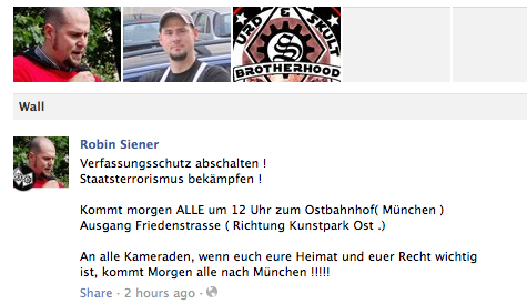 Mobilisierung per facebook an den Ostbahnhof.  Screenshot: a.i.d.a.