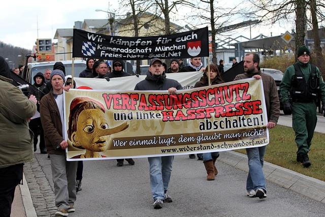 Fronttransparent beim Aufmarsch in Schwandorf. Foto: Jan Nowak