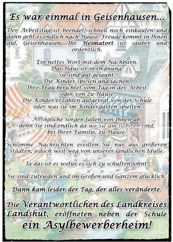 Das rassistische Flugblatt der 'Kameradschaft Geisenhausen' (Vorderseite). Dokumentation: a.i.d.a.
