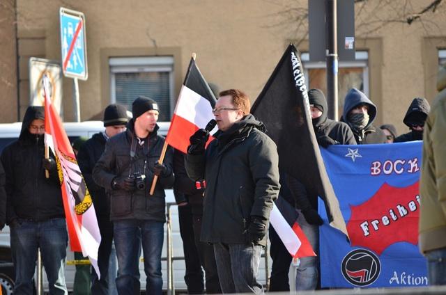 Der NPD-Landesvorsitzende Ralf Ollert redet bei der 'Division Franken'.  Foto: anonym zugesandt, (c) a.i.d.a.