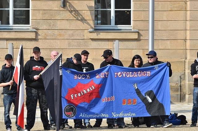 Transparent des 'Aktionsbündnis Nordfranken' in Coburg.  Foto: Timo Mueller