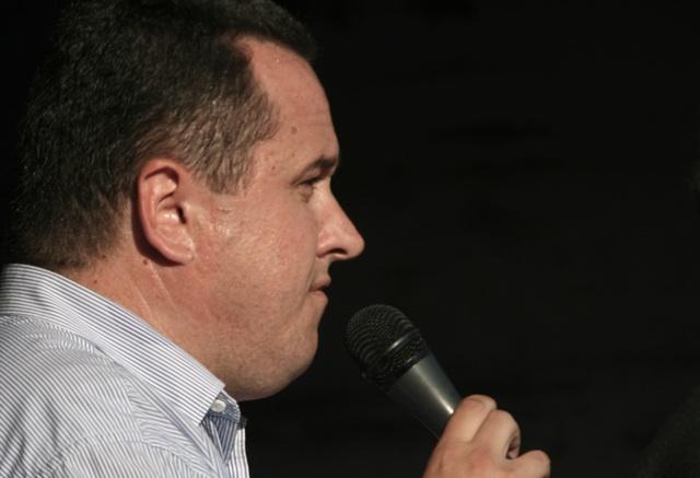 Jiří Štěpánek als Redner bei einer Neonazikundgebung in Varnsdorf.  Foto: Robert Andreasch
