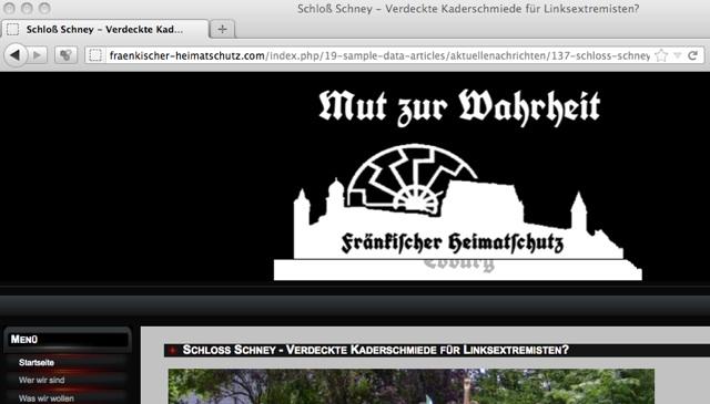 Hetze gegen das Seminar auf der Homepage des 'Fränkischen Heimatschutzes'. Screenshot: a.i.d.a.