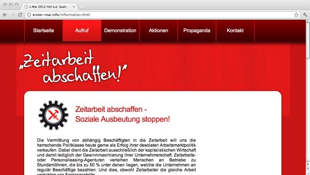 Mobilisierungshomepage für den Aufmarsch in Hof. Screenshot: a.i.d.a.