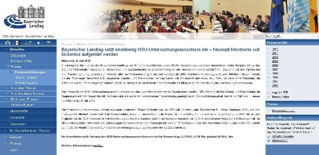 NSU-Untersuchungsausschuss beschlossen. Screenshot der Homepage des Bayerischen Landtags.  (c) a.i.d.a.