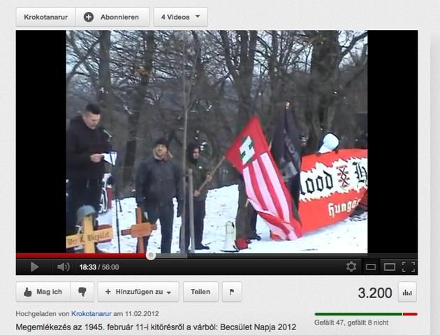 Matthias Fischer spricht im Februar 2012 in Budapest neben einem 'Blood & Honour'-Transparent.  Screenshot: a.i.d.a.