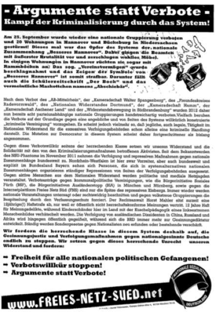 Die neoazistischen Flugblätter, die die FNS-Aktivisten am Eingang zur Wiesn verteilten. Repro-Foto: a.i.d.a.