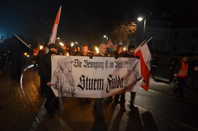 NS-Ästhetik auf dem Transparent des 'Sturm Fulda'.  Foto: a.i.d.a.