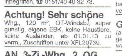 Rassistische Wohnungsanzeige aus der 'WIB'. Scan: www.die-linke-ansbach.de