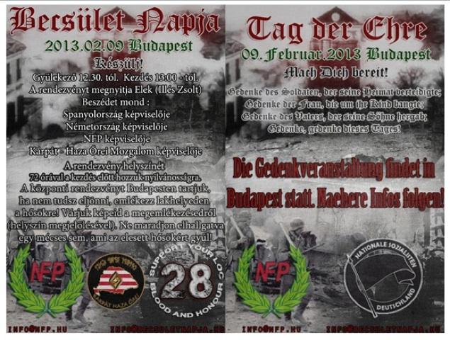 Vergleich des ungarischen Flyers mit 'Blood and Honour/28'-Verweis (l.) und des deutschsprachigen ohne BH/28-Logo. Repro: a.i.d.a.