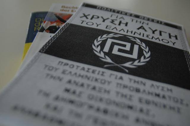 Parteiprogramm der 'Goldenen Morgenröte' mit Logo der neofaschistischen Partei. Foto: a.i.d.a.