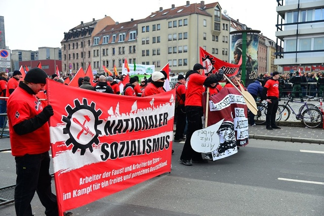 Werben für den Nationalsozialismus: Transparent des 'Freien Netz Süd'. Foto: recherche-bayern