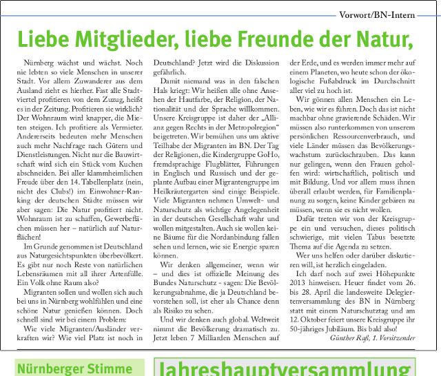 Krude Thesen im Vorwort der BN-Mitgliederzeitschrift 'Mauersegler'. Repro-Foto: a.i.d.a.