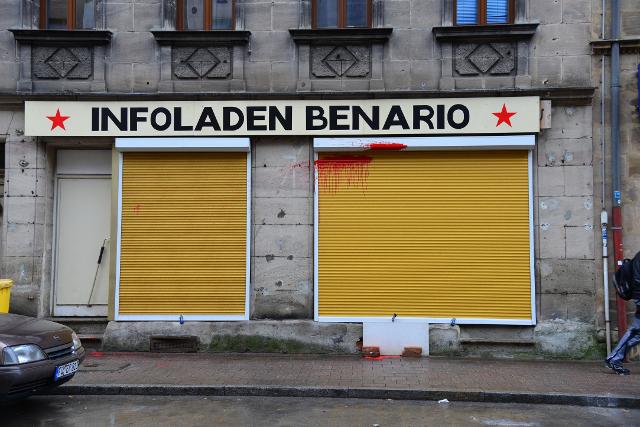 Farbanschlag auf den antifaschistischen infoladen Benario. Foto: alf.blogsport.de