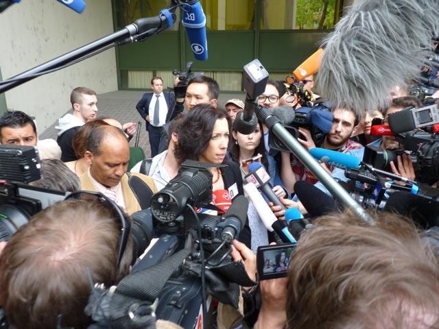 Andrea Titz, Sprecherin des OLGs, verkündet die Prozessunterbrechung.  Foto: a.i.d.a./NSU-watch