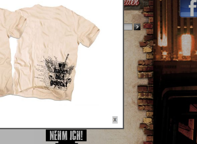 'Wir haben Blut geleckt'. T-Shirt aus dem aktuellen Angebot des Allgäuer Neonaziversands Oldschool-Records aus Memmingen/Bad-Grönenbach. Screenshot: a.i.d.a.