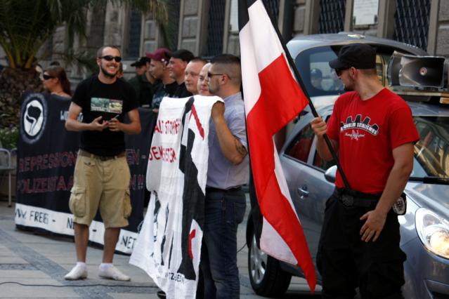 Die neonazistische Kundgebung in der Innenstadt. Foto: Tim Karlson