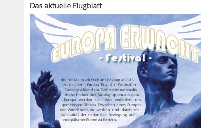 Den Flyer für das neonazistische Festival auf der 'Europa erwacht'-Webseite.  Screenshot (Ausschnitt): a.i.d.a.