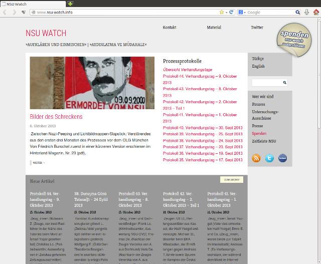 Die Website der Intitiative 'NSU-watch' (www.nsu-watch.info). Screenshot: a.i.d.a.