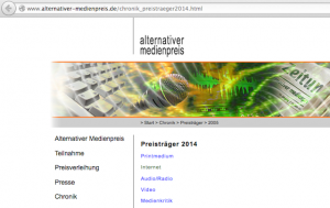 Website des 'Alternativen Medienpreises 2014'. Screenshot: a.i.d.a.