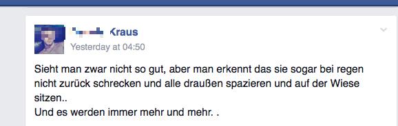 Wenn Asylsuchende nicht auf der Wiese sitzen dürfen. Rassistische Vorwürfe auf facebook. Screenshot: a.i.d.a.