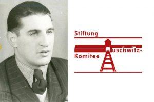 Hans Frankenthal und das Logo der Stiftung Auschwitz-Komitee.