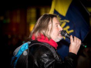 'MÜGIDA'-Anmelder Thomas Weiß bei der Versammlung am 5. Januar 2015 auf dem Sendlinger-Tor-Platz. Foto: a.i.d.a.