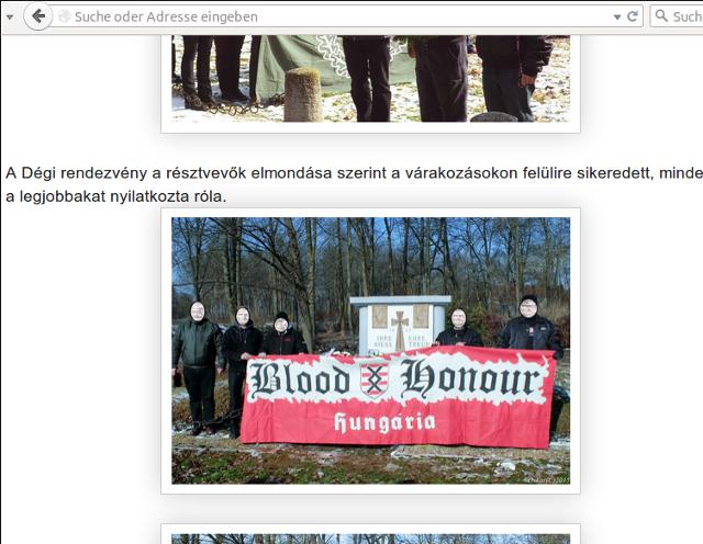 'Tag der Ehre' im ungarischen Dég. Screenshot der B&H-Homepage: a.i.d.a.