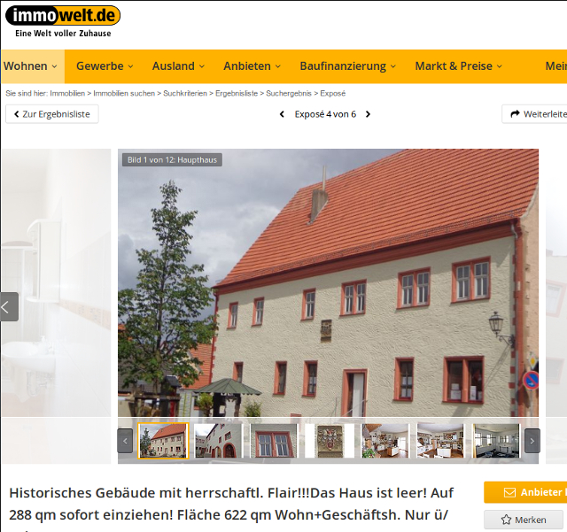 Die Immobilie steht online noch zum Verkauf. Screenshot: a.i.d.a.