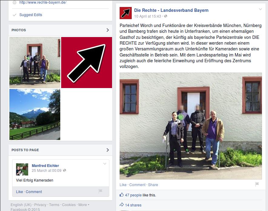 Auf facebook präsentieren sich die Neonazis vor der Immobilie. Screenshot: a.i.d.a.