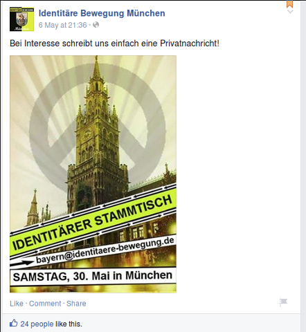 So bewarb die 'Identitäre Bewegung München' kurzzeitig ihren 'Stammtisch'. Screenshot: a.i.d.a.