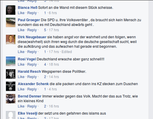 User_innen posten Mordphantasien und NS-verherrlichende Kommentare auf dem facebook-Profil der Bayern-NPD. Screenshot: a.i.d.a.