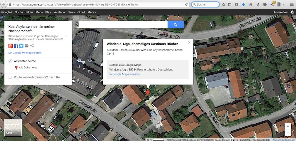 Neonazis hatten auf ihrer google-Karte das jetzt angegriffene Haus markiert. Screenshot: a.i.d.a.