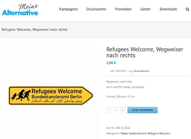 Der Screenshot beweist: diese Straßenwegweiser verkauft die AfD in ihrem Webshop. Screenshot: a.i.d.a.
