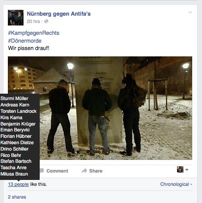 Neonazis verhöhnen die vom NSU Ermordeten.  Screenshot: a. i. d. a.