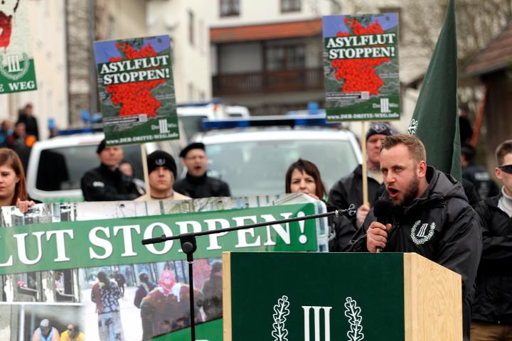 Redner bei der neonazistischen Kundgebung.  Foto: Jan Nowak