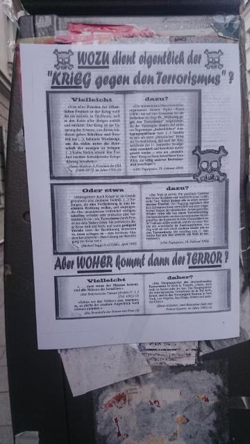 Eines der antisemitischen Pamphlete in der Veterinärstraße. Foto: Robert Andreasch