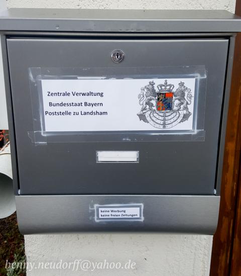 Briefkasten des 'Bundesstaat Bayern'.  Foto: Benny Neudorff