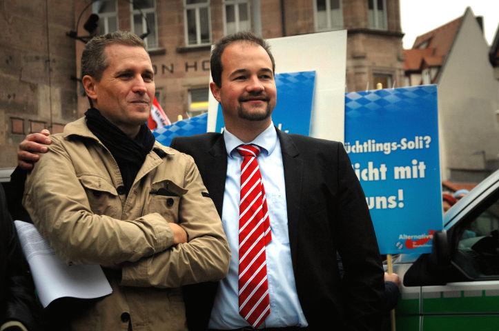 Petr Bystron (links) und sein Nachfolger im Amt des AfD-Landesvorsitzenden, Martin Sichert (rechts). Foto: Robert Andreasch
