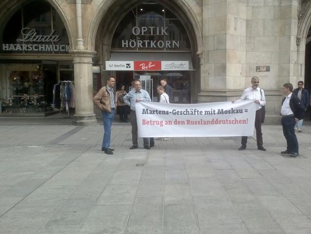 Aktion des Arminiusbunds auf dem Münchner Marienplatz. Foto: firm